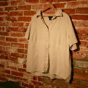 Venezia Linen + Cotton Button-Up Blouse 18/20